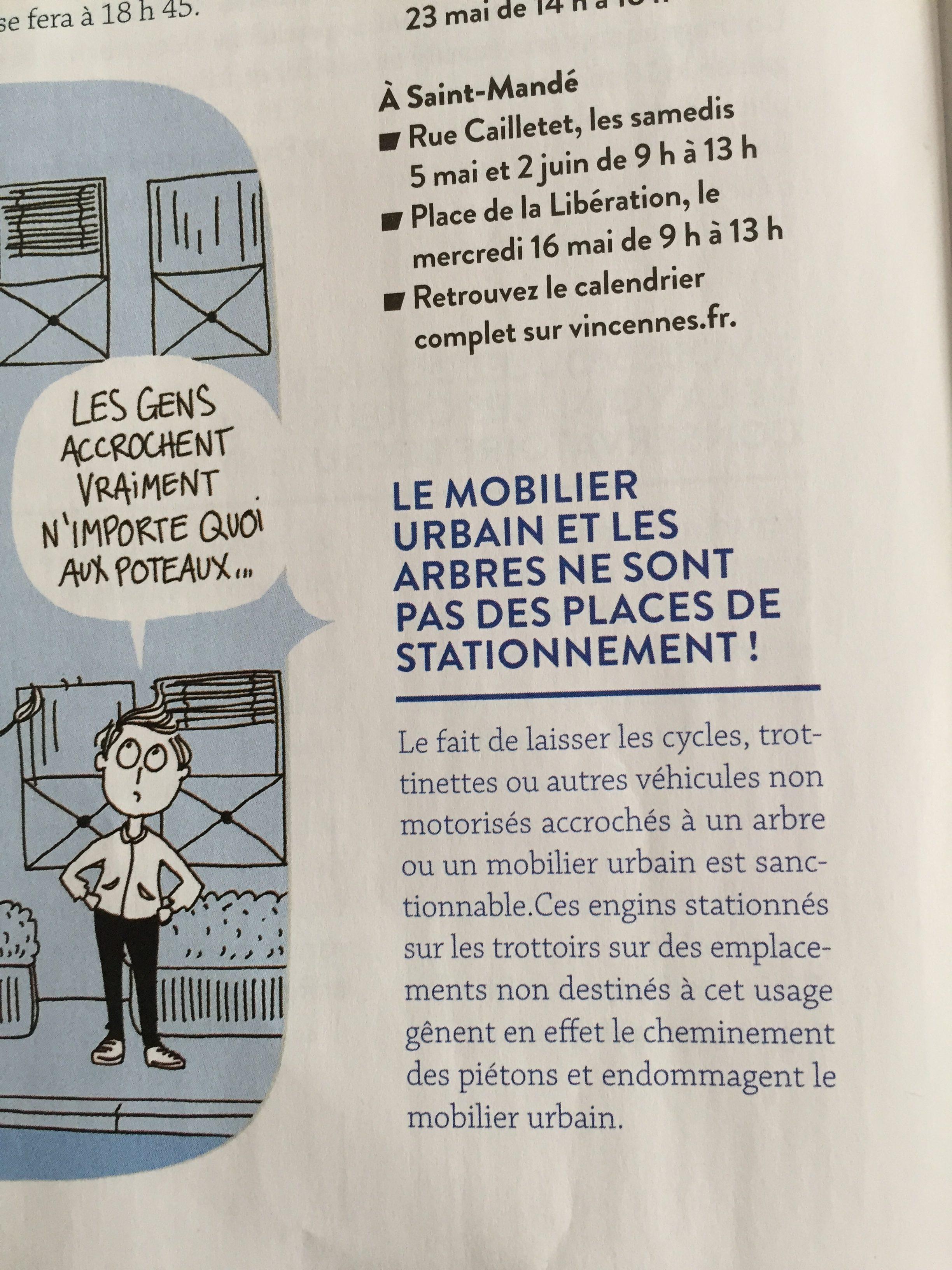 article stationnement vélo publié dans Vincennes Info
